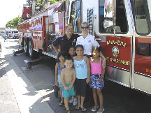Fire fighters visiting children